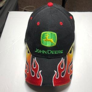 John Deere black hat with flames